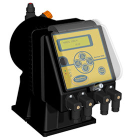 Series 300 solenoid metering pump designed for integration into a chemical feed system