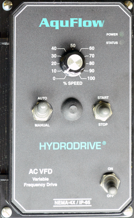 The HydroDrive AC Variable Frequency Drive is a variable speed control in a NEMA-4X / IP-65 washdown, watertight enclosure