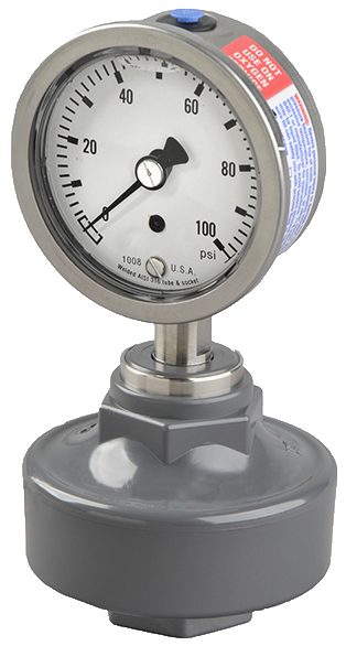 Aquflow pressure gauge isolators use a buffer between the chemicals and the internal parts to protect the pressure gauge from corrosive damage